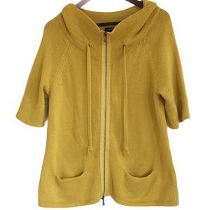 Talbots Knitted Short Sleeve Zip Sweater Mustard